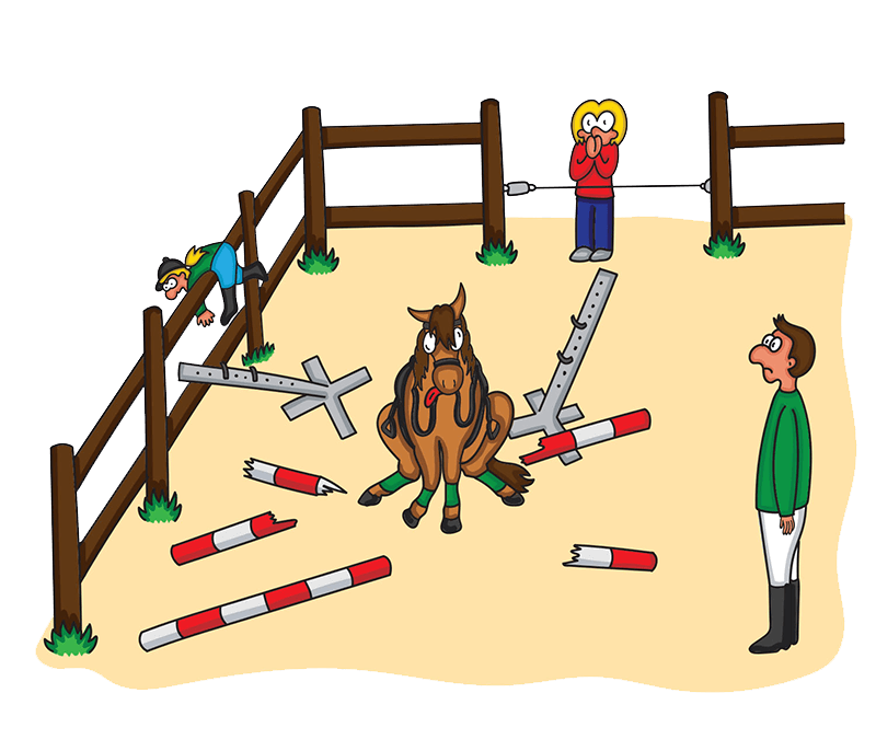 Pferd macht Hindernis kaputt und verletzt Reiter