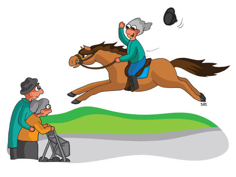 Dame die sich auchim Alter noch um ihr Pferd kümmern kann